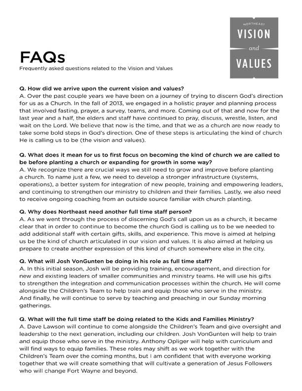 NE Vision & Values FAQ